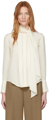 Chloé Off-White Silk Neck-Tie Blouse