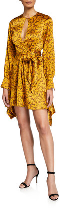 Jonathan Simkhai Hammered Silk Keyhole Tie-Front Dress