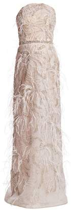 Marchesa Feather-Trim Strapless Column Gown