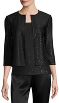 St. John Sequined Knit 3/4-Sleeve Cardigan, Black