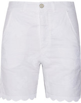 MiH Jeans Aphex Scalloped Embroidered Linen And Cotton-Blend Shorts