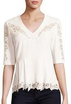 Rebecca Taylor Crepe Lace Inset Top