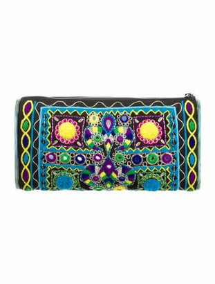 Edie Parker Jumbo Lara Embroidery Clutch Black