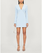 David Koma Diamante-embellished V-neck crepe mini dress