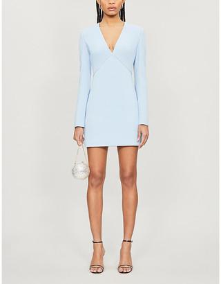 David Koma Diamante-embellished V-neck crepe mini dress