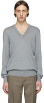 Maison Margiela Grey Elbow Patch V-Neck Sweater