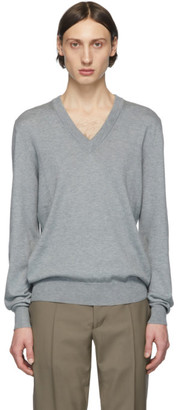 Maison Margiela Grey Elbow Patch V-Neck Sweater