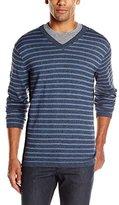 DKNY Men's Long Sleeve Solid/ Marl Stripe V-Neck Sweater