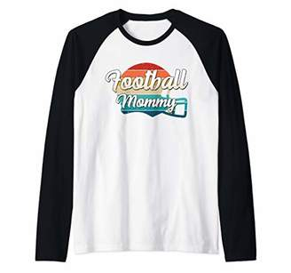 Retro Football Mommy Helmet Player Jersey Team Mom Women Raglan Baseball Tee