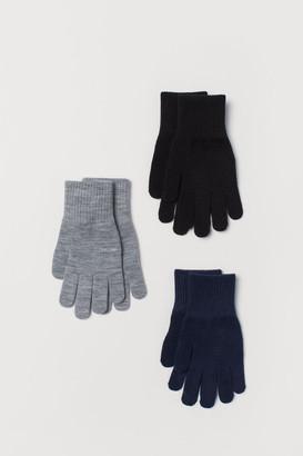H&M 3-pack Gloves - Black