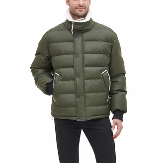 DKNY Men's Faux Leather Sherpa Collar Ultra Loft Puffer Jacket