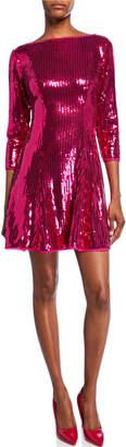 SHO Sequin 3/4-Sleeve Open-Back Cocktail Dress