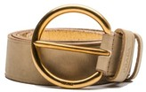 Prada Vinatage Women's Circular Logo Calf Leather Belt Beige