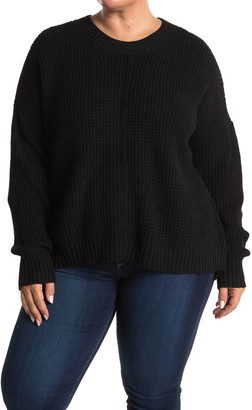 Sweet Romeo Waffle Knit Pullover Sweater (Plus Size)