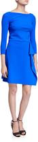Chiara Boni Bateau-Neck 3/4-Sleeve A-Line Asymmetric Skirt Dress