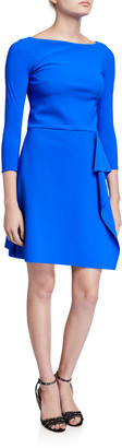 Chiara Boni Bateau-Neck 3/4-Sleeve A-Line Asymmetric Skirt Dress
