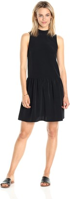 Paris Sunday Women's Sleeveless Band Collar Bottom Flounce Dress
