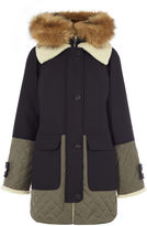 Karen Millen Fur Trim Coat - Navy