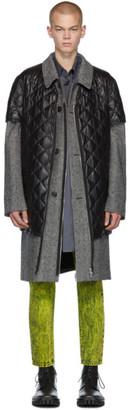 Maison Margiela White and Black Wool Herringbone Coat