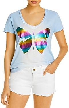 Aqua Lauren Moshi x Butterfly Foil Print Tee - 100% Exclusive