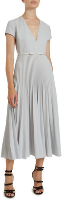 Giambattista Valli Pleated Wool Crepe Midi Dress