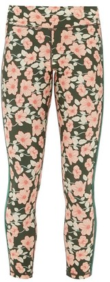 The Upside Side-stripe Poppy-print Jersey Leggings - Womens - Green Print
