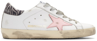 Golden Goose SSENSE Exclusive White Zebra Superstar Sneakers