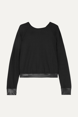 Koral Sofia Satin-trimmed Stretch-mesh Sweater - Black