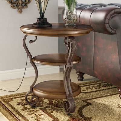 Thumbnail for your product : Alcott Hill Curran Pedestal End Table with Storage