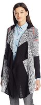 Derek Heart Juniors Mixed Marled Stripe Long Sleeve Hooded Cardigan Sweater