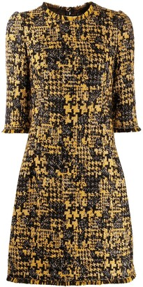 Dolce & Gabbana Half-Sleeved Tweed Dress