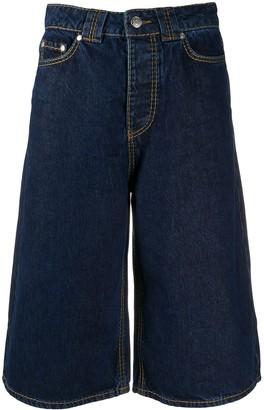 Ganni Wide-Leg Denim Shorts