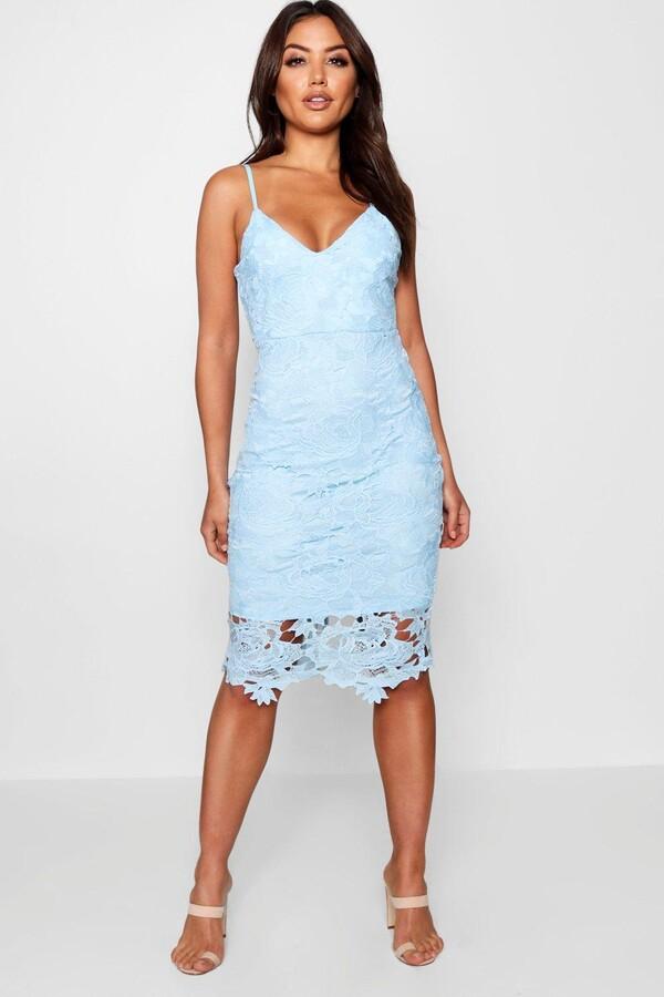 34fd7529362b boohoo Blue Lace Midi Dresses - ShopStyle