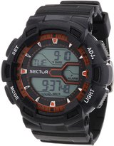 Sector Men's Digital Watch with LCD Dial Digital Display and Black PU Strap R3251172013