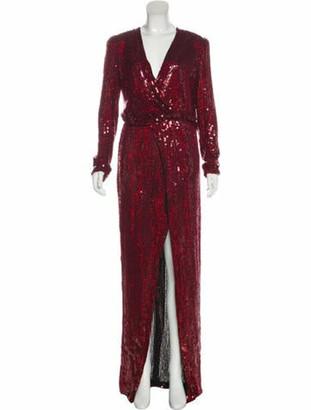 Galvan Sequin Evening Dress Red