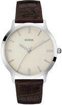 GUESS Men's Brown Leather Strap Watch 43mm U0664G2