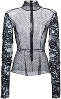 Tome sheer lace turtleneck top