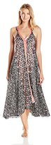 Oscar de la Renta Women's Border Print Charmeuse Long Gown