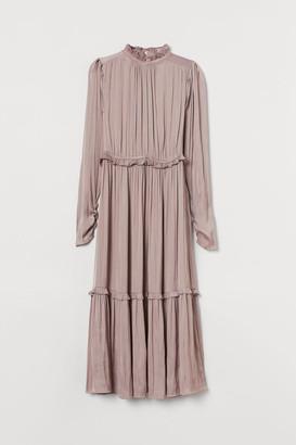 H&M Ruffle-trimmed Dress - Brown