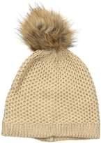 D&Y Women's Seed Stitch Knit Beanie with Faux Fur Pom
