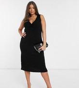 Asos DESIGN Curve ruched front knitted midi dress
