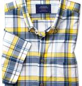Charles Tyrwhitt Slim fit button-down poplin short sleeve navy blue and yellow check shirt