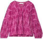 Apiece Apart Izza Wabi Printed Cotton And Silk-blend Top