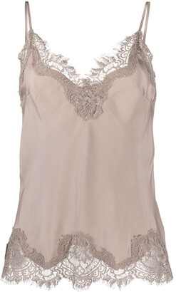 Gold Hawk Scalloped Lace Vest Top