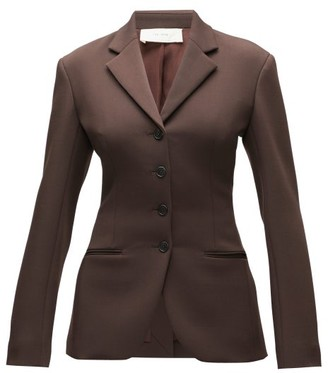 The Row Risa Single-breasted Wool-blend Twill Blazer - Womens - Dark Brown