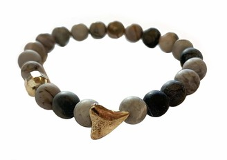 Chan Luu Picasso Jasper Shark Tooth and Gold Nugget Stretch Bracelet