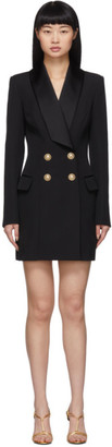 Balmain Black Grain De Poudre 4-Button Jacket Dress