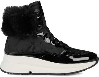 Geox Faux-Fur High-Top Sneakers