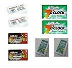 Merkur DE Blades 10 ct + 7 O'Clock Black Super Platinum DE Blades, 7 ct (Pack of 2) + 7 O'Clock Permasharp Green DE Blades, 10 ct (Pack of 2) + Derby Extra DE Blades 5ct (Pack of 2) + Makeup Blender