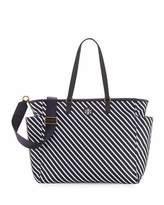 Tory Burch Scout Striped Nylon Baby Tote Bag, Blue/White